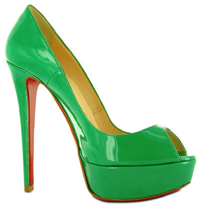 Christian Louboutin Peeptoe Patent Banana Pumps in Green