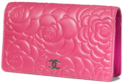 Long Wallet in Calfskin with Embossed Camellias