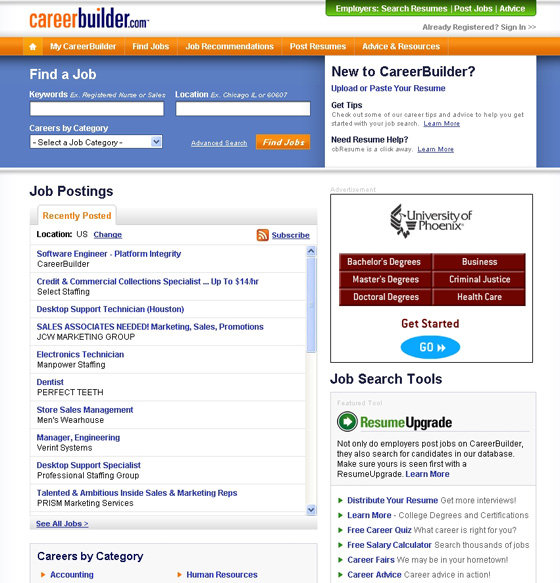 careerbuilder 10 best searching websites