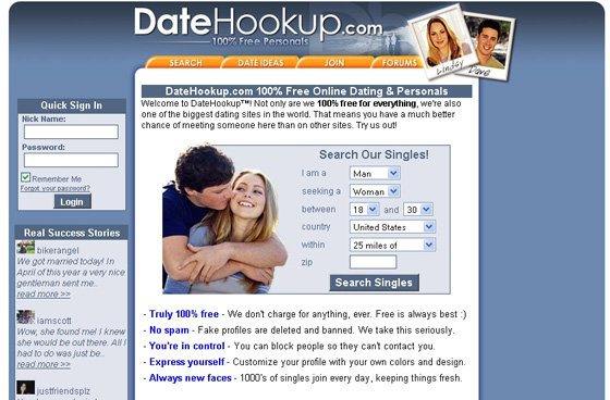 free hookup sites that are actually free