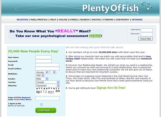 plenty of fish online dating website In 2001, markus frind, a graduate of british columbia institute of technology,  launched the online dating site plentyoffish media inc when he.