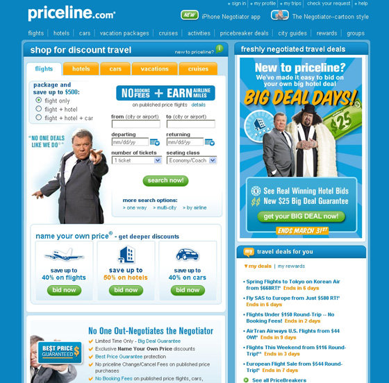 Priceline top 10 travel booking websites lifestyle for Top site reservation hotel