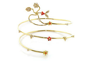 Dahlia's Bohemian Style Gold and Floral Cuff