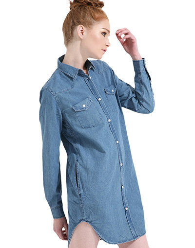 Long Womens Denim Shirt