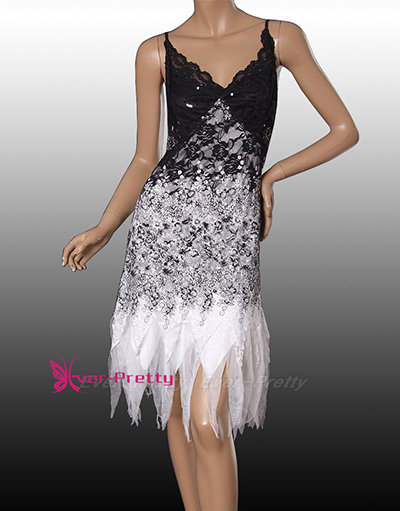 Sequined black white party dress