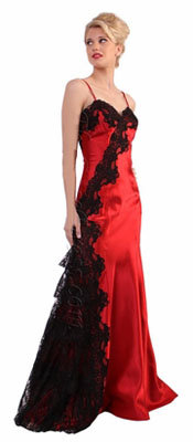 Red dress with black lace