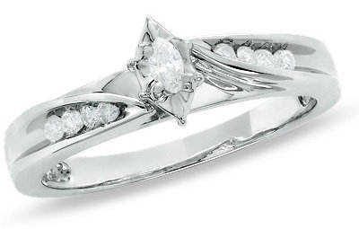 1/7 CT. T.W. Marquise Diamond Engagement Ring in 10K White Gold