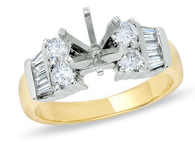 3/4 CTW. Semi Mount Diamond Engagement Ring with round and Baguette Diamonds in 14K Two-Tone Gold