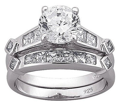 sterling silver wedding band and engagement ring 2 pc cz set - Silver Diamond Wedding Rings