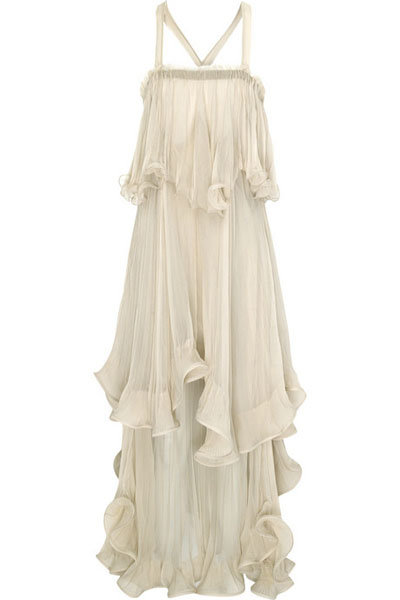 Chloé Silk-chiffon Tiered Ruffle Dress