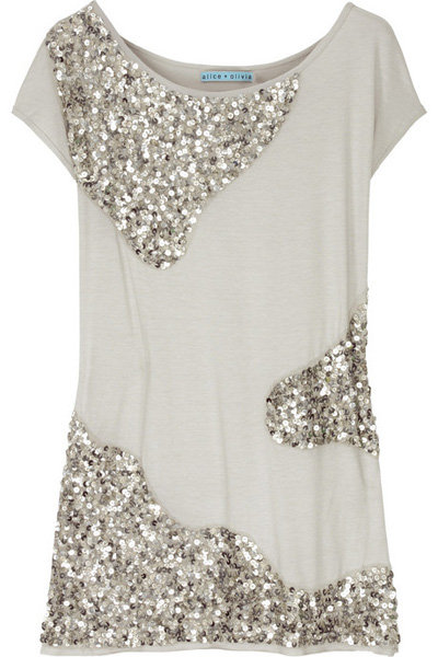 Alice + Olivia Sequined Jersey Top