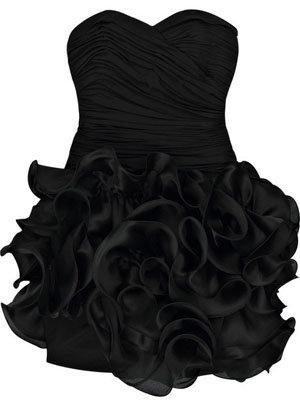 Black mini dress frill bottom