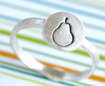 Silver Pear Stacking Ring