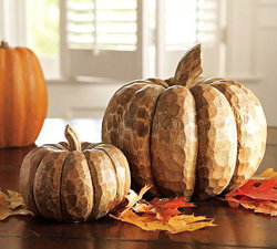 pottery barn carved wood pumpkins