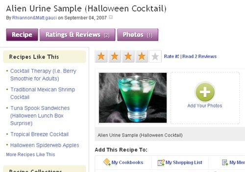 Alien Urine Sample - 7 Halloween-inspired Cocktails ... …