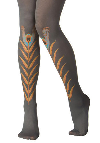 Grey Peacock Feather Tights