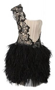 2 Marchesa One Shoulder Feather Skirt Embroidered Mini