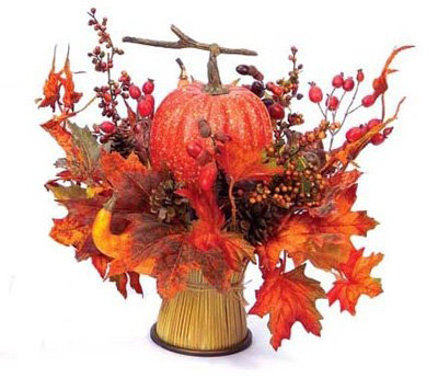 Wheat Sheaf, Pumpkin, and Maple Leaves Centerpiece