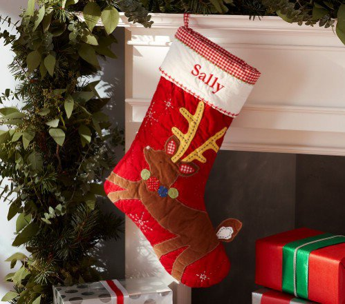 Pottery Barn Kids Reindeer Quilted Stocking