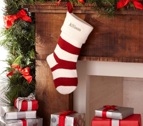 Pottery Barn Kids White & Red Stripe Fair Isle Stocking - 7 Cute…