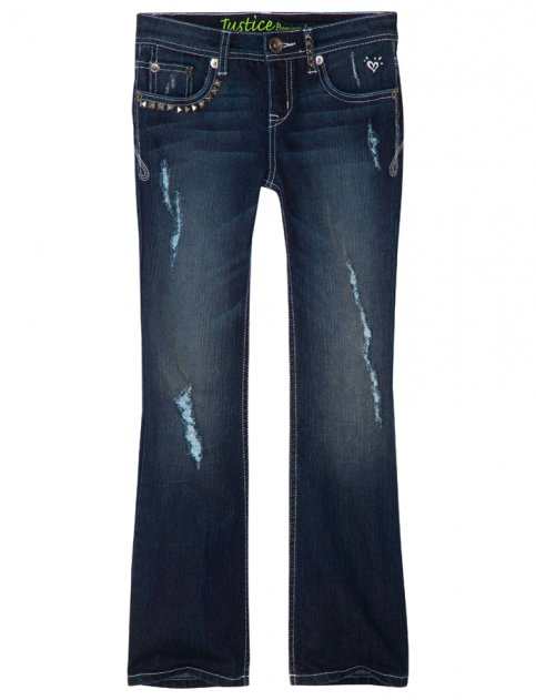 2. Justice for Girls Pyramid Stud Destroyed Boot Cut Jean - 7 Cute…