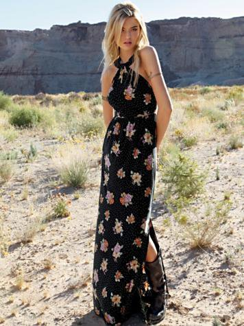 Free People Floral Halter Maxi Dress