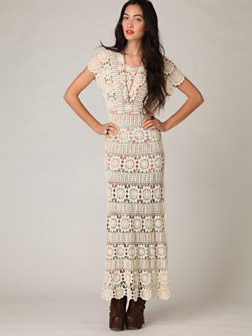 Free People Hand Crochet Maxi Dress