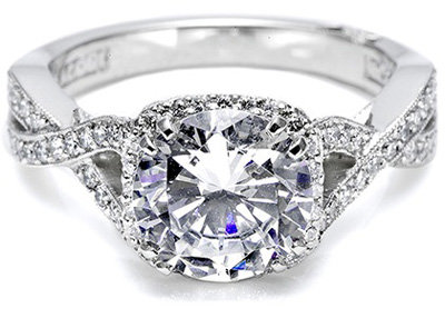 tacori engagement ring with pave set diamonds - Girl Wedding Rings