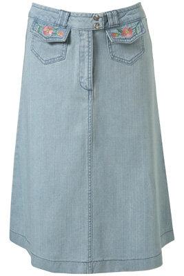 Topshop Pale Blue Denim Flower Embroidery Midi Skirt
