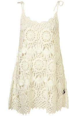 Topshop Cream Crochet Shift Dress