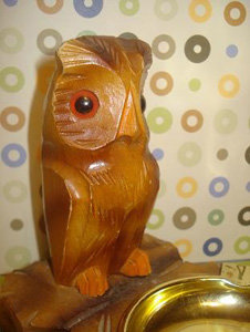Wooden Owl Ash Tray