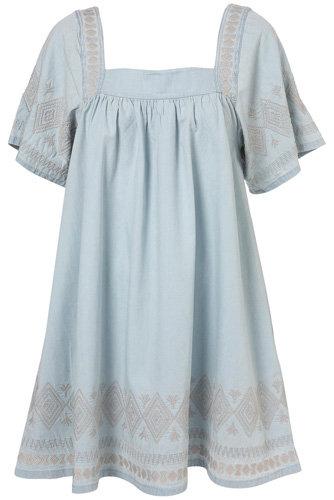 Topshop Pale Denim Embroidered Dress