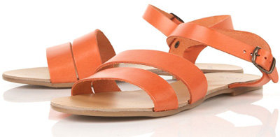 Topshop Hot Orange Strappy Leather Sandals