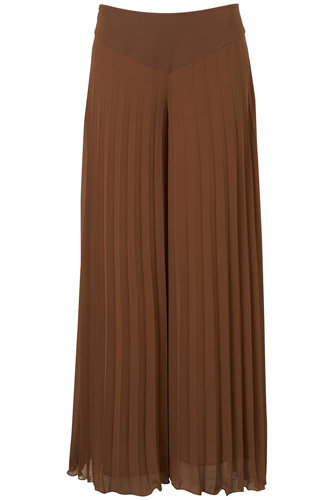 Topshop Brown Pleated Extreme Wide Leg Trousers