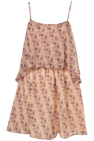 Topshop Pale Pink Tier Chiffon Dress
