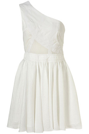 Topshop White One Shoulder Panel Dress