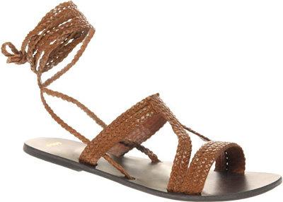 Asos Fiji Leather Tie Up Flat Sandals 7 Wrap Sandals