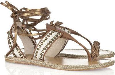 6. Christian Louboutin Hola Chica Studded Leather Flat Sandals - 7\u2026