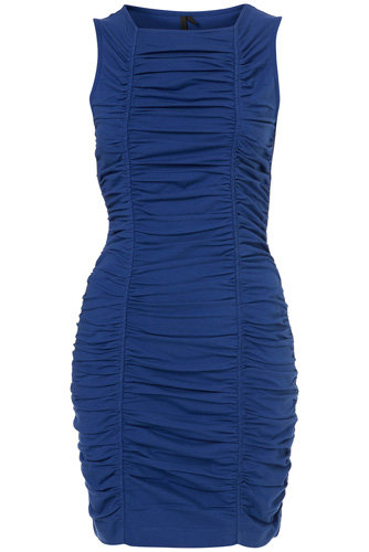 Topshop Bright Blue Ruched Bodycon Dress