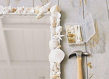 Popular Beach Themed Bathroom Mirror Shabby Chic Hand Painted Ornate Hanging