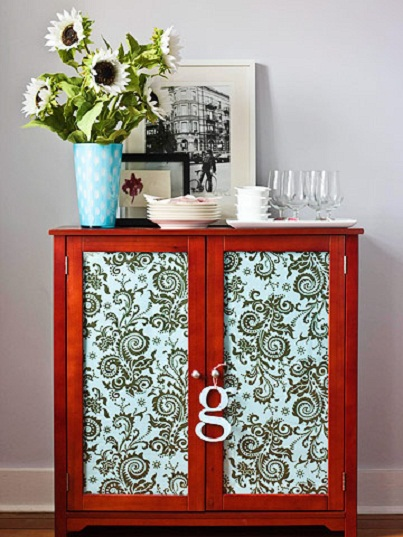 5. Fabric Cabinet... - 6 Ways to Brighten up Your Home with Fabric...…