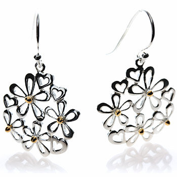 Daisies and Hearts Silver Earrings