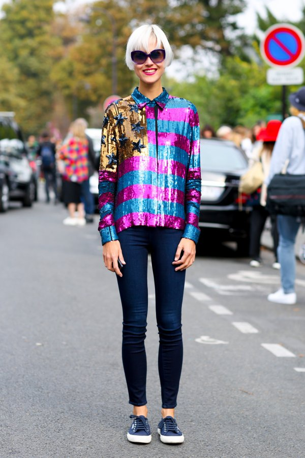 Wear a Quirky Sequin Shirt with Blue Jeans