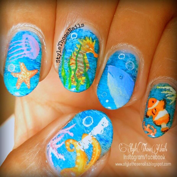248 Creative Nail Art Designs For Girls Looking To Up: 28 Really Cool Sea Creature Nail Art