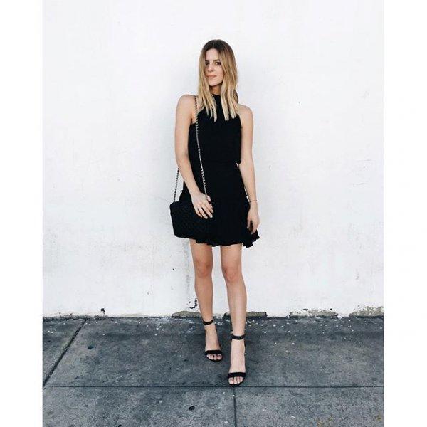 black, clothing, dress, little black dress, footwear,