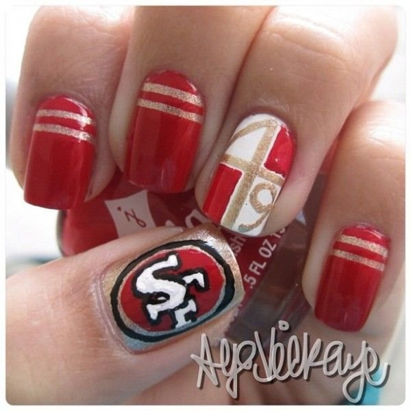 Nfl game day 36 sports nail art ideas that will make you ready via nfl nail art 49ers broncos prinsesfo Gallery