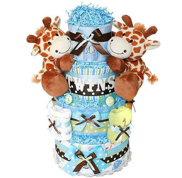 Baby Gift Baskets For Triplets : Diaper cake awesome baby shower gifts for twins that