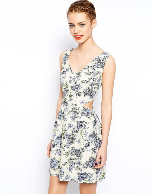 Asos Floral Crepe Cutout Dress