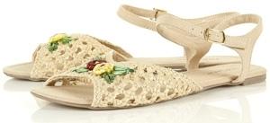 Topshop Hazel off White Floral Straw Sandal