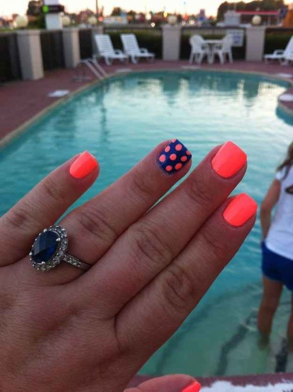 Bright colors here are the coolest 38 polka dot nail art bright colors prinsesfo Image collections
